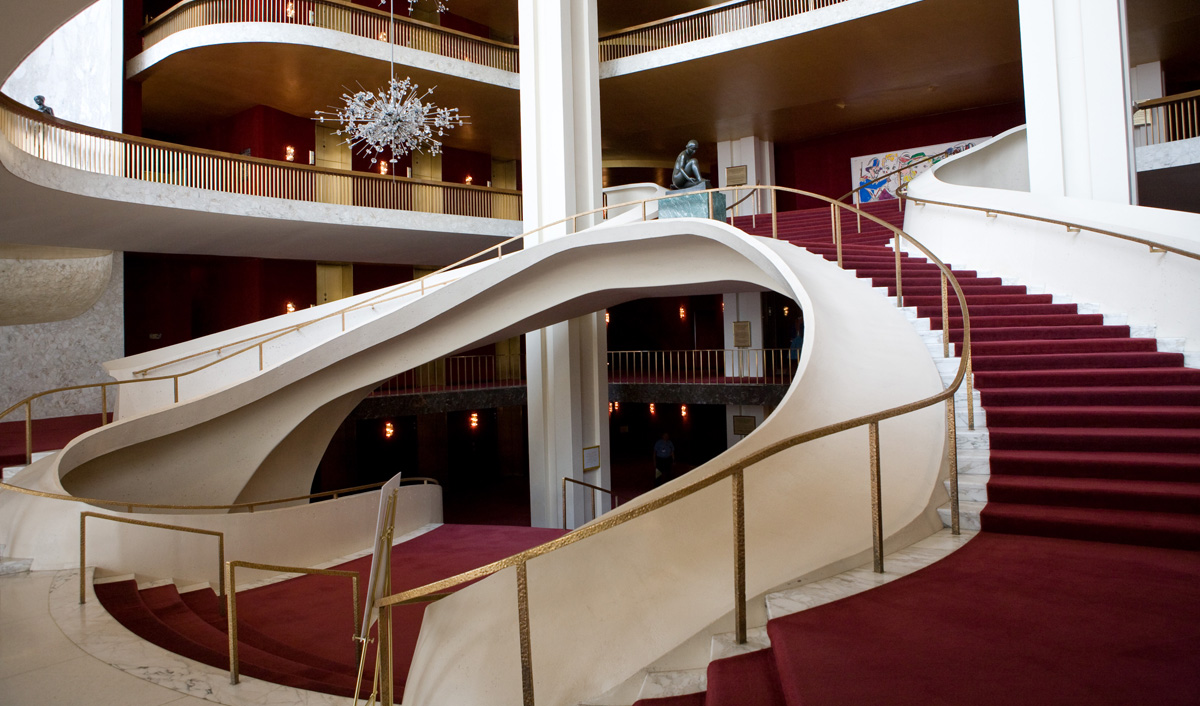 The lobby of the Metropolitan Opera House in New York City. Photo: Marty Sohl/Metropolitan Opera